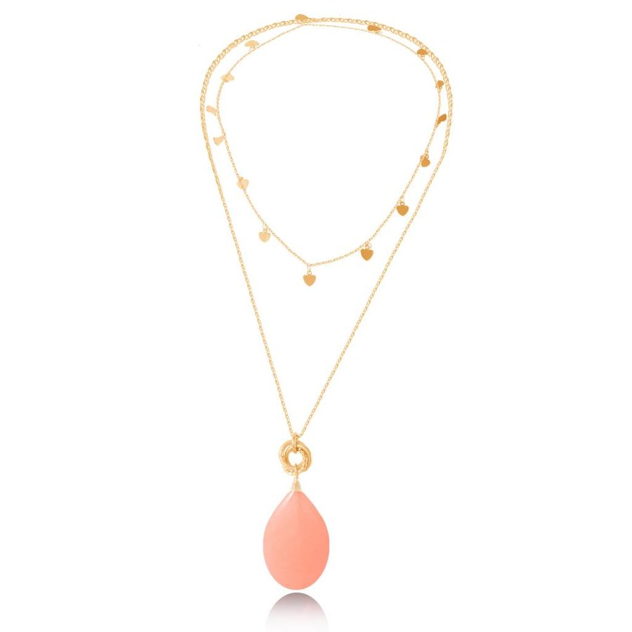 Pure stone lovers ketting - Goud/Coral