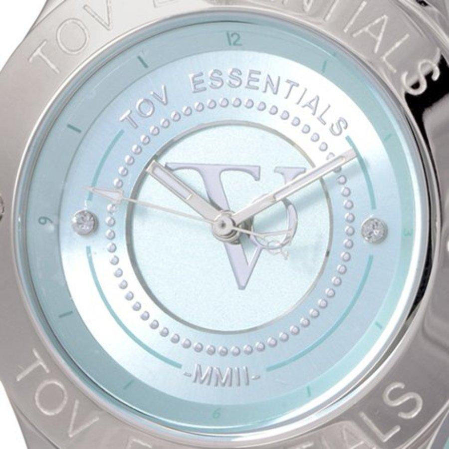 TOV steel/blauw horloge