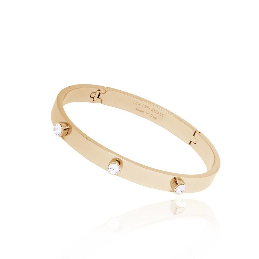 Fine stone bangle - Light Gold/Crystal