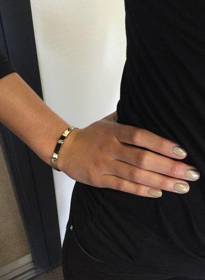 Fine stone bangle - White Gold/Black Diamond