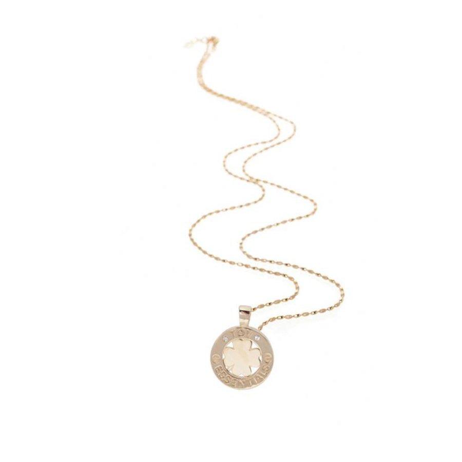 85 cm ketting met klavervier pendant -rose