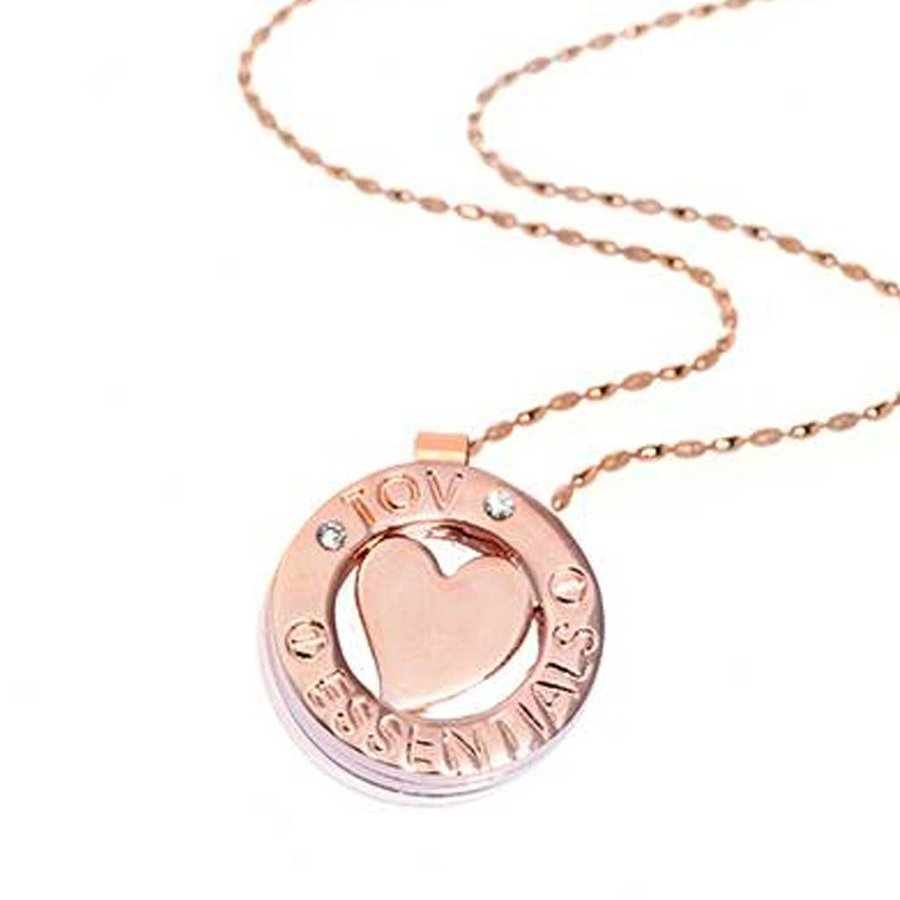 85cm necklace - heart pendant - rose