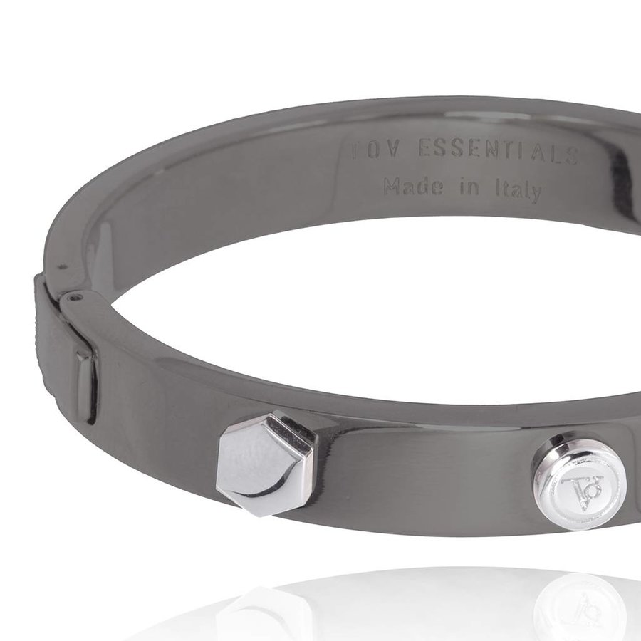TOV rivets bangle -gun metal