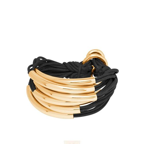 Big Lots of cord tube armband - Light gold/ Taupe