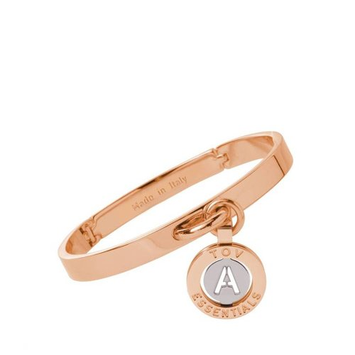Iniziali bangle 2.0 - Rose/Wit Goud - Letter A