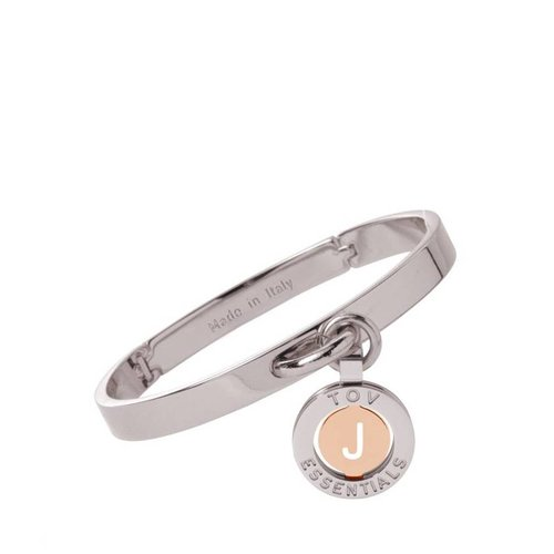 Iniziali bangle 2.0 - White Gold/Rose - Letter J