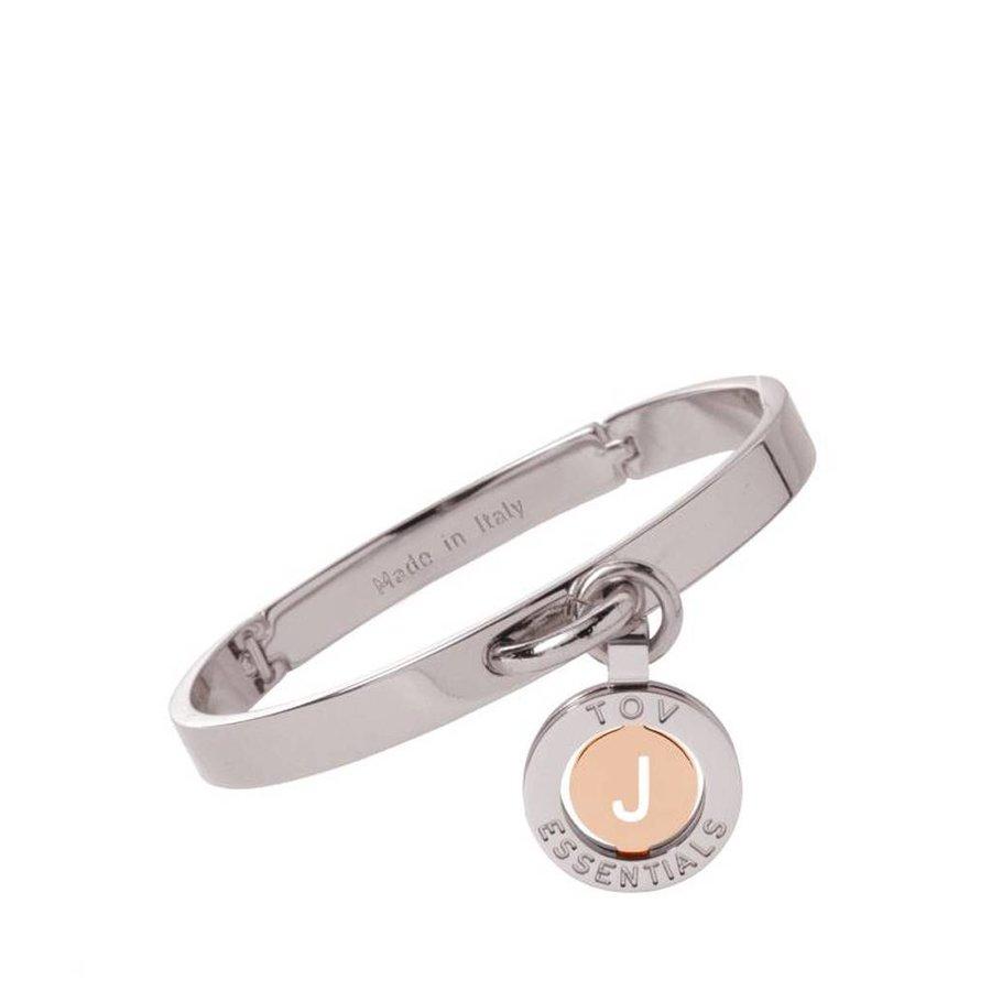 Iniziali bangle (Armband) 2.0 - Wit Goud/Rose - Letter J
