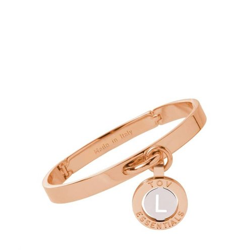 Iniziali bangle 2.0 - Rose/Wit Goud - Letter L