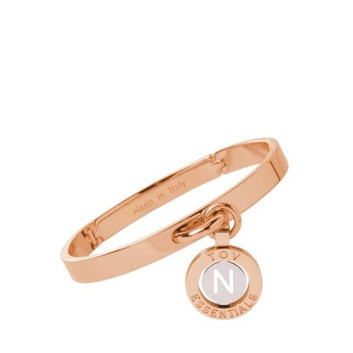 Iniziali bangle 2.0 - Rose/Wit Goud - Letter N