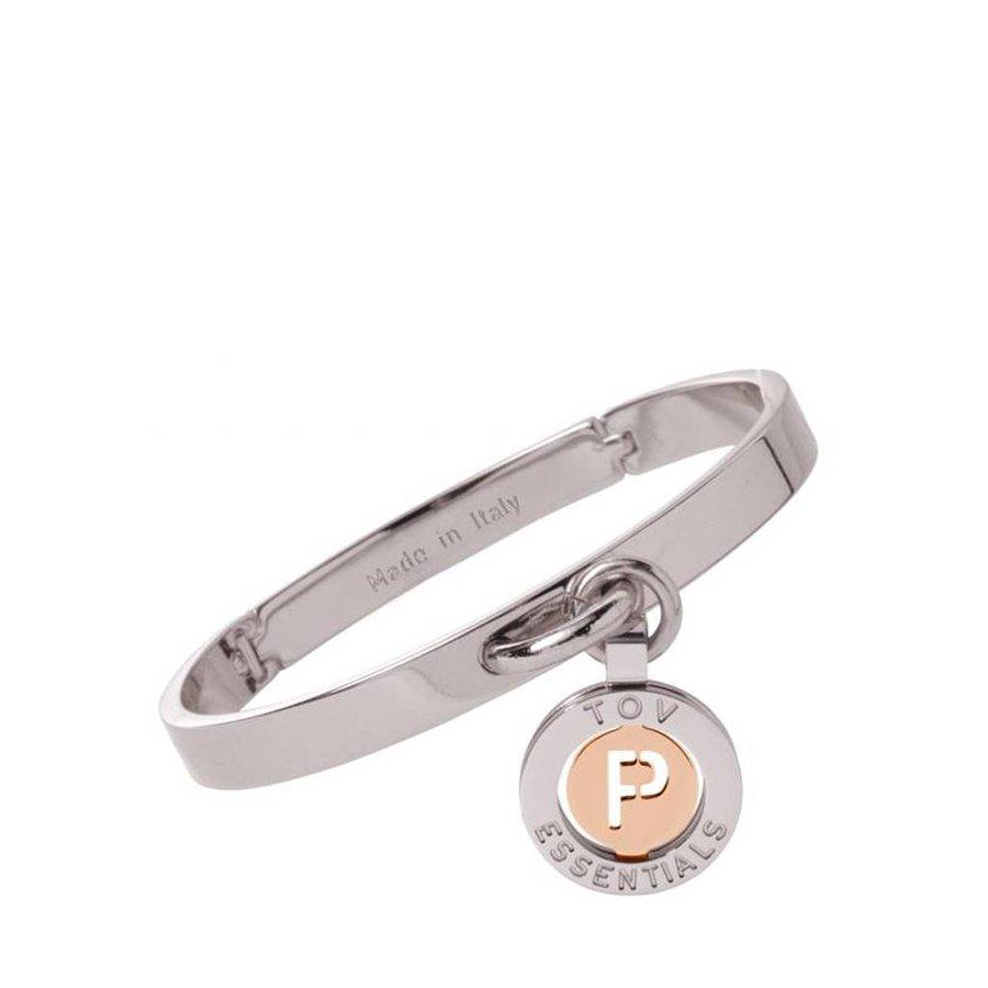 Iniziali bangle 2.0 - White Gold/Rose - Letter P