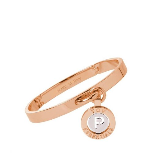 Iniziali bangle 2.0 - Rose/Wit Goud - Letter P