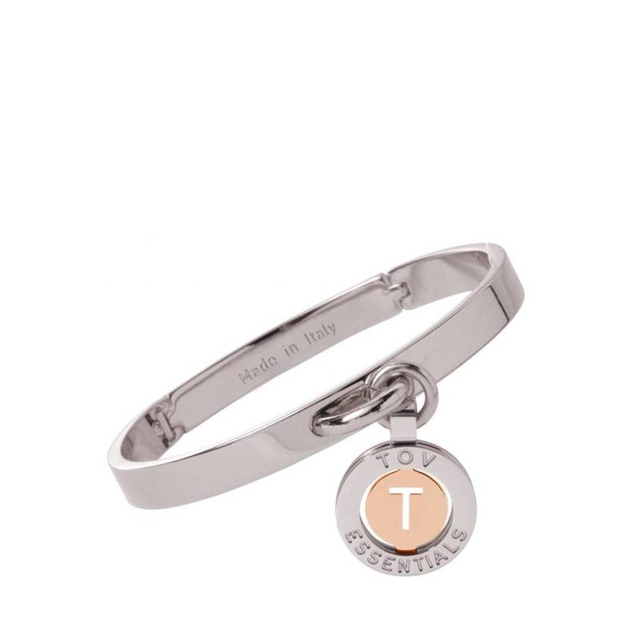 Iniziali bangle 2.0 - Wit Goud/Rose - Letter T