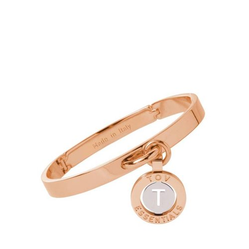 Iniziali bangle 2.0 - Rose/Wit Goud - Letter T