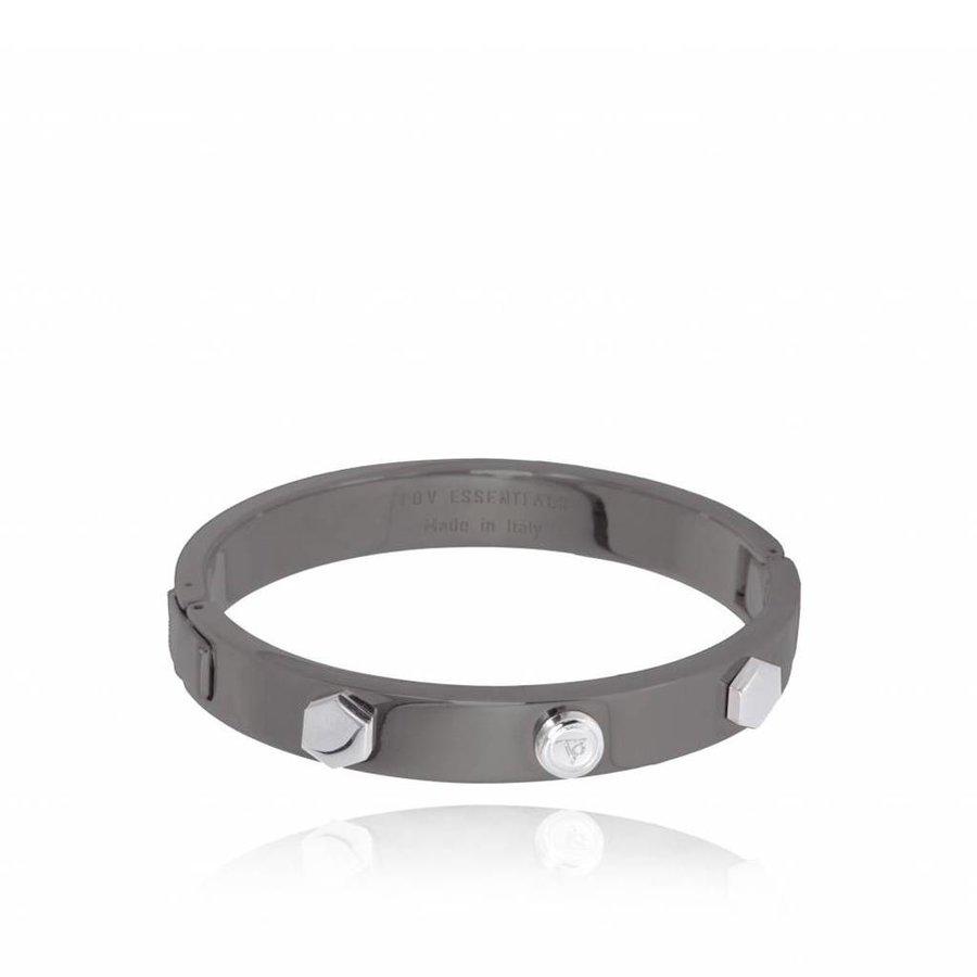 TOV rivets bangle (Armband) - gun metal