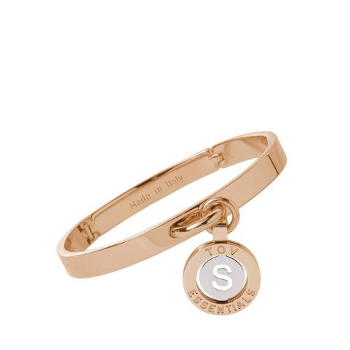 Iniziali bangle 2.0 - Rose/Wit Goud - Letter S