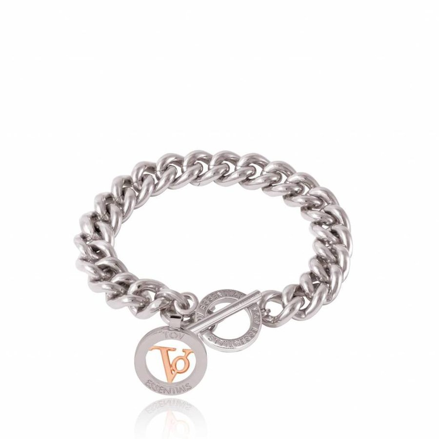 Mini solochain armband - wit goud - rose