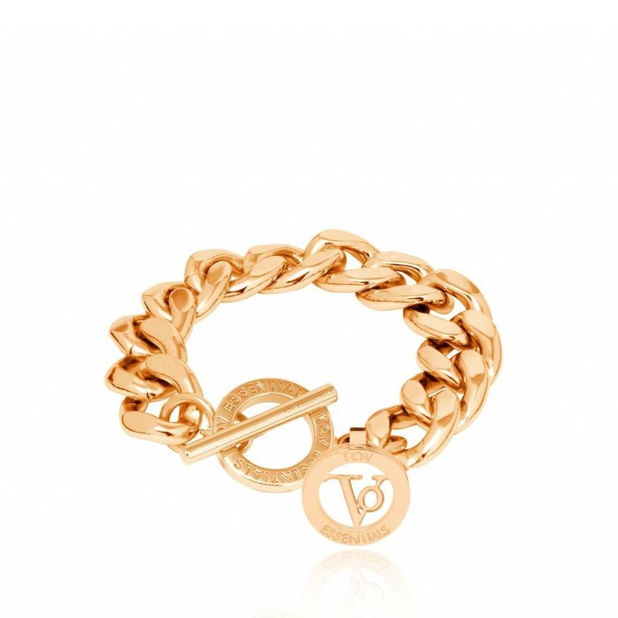 Small flat chain bracelet - gold
