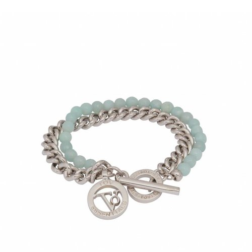 2 in 1 bracelet - white gold & aqua agate beads