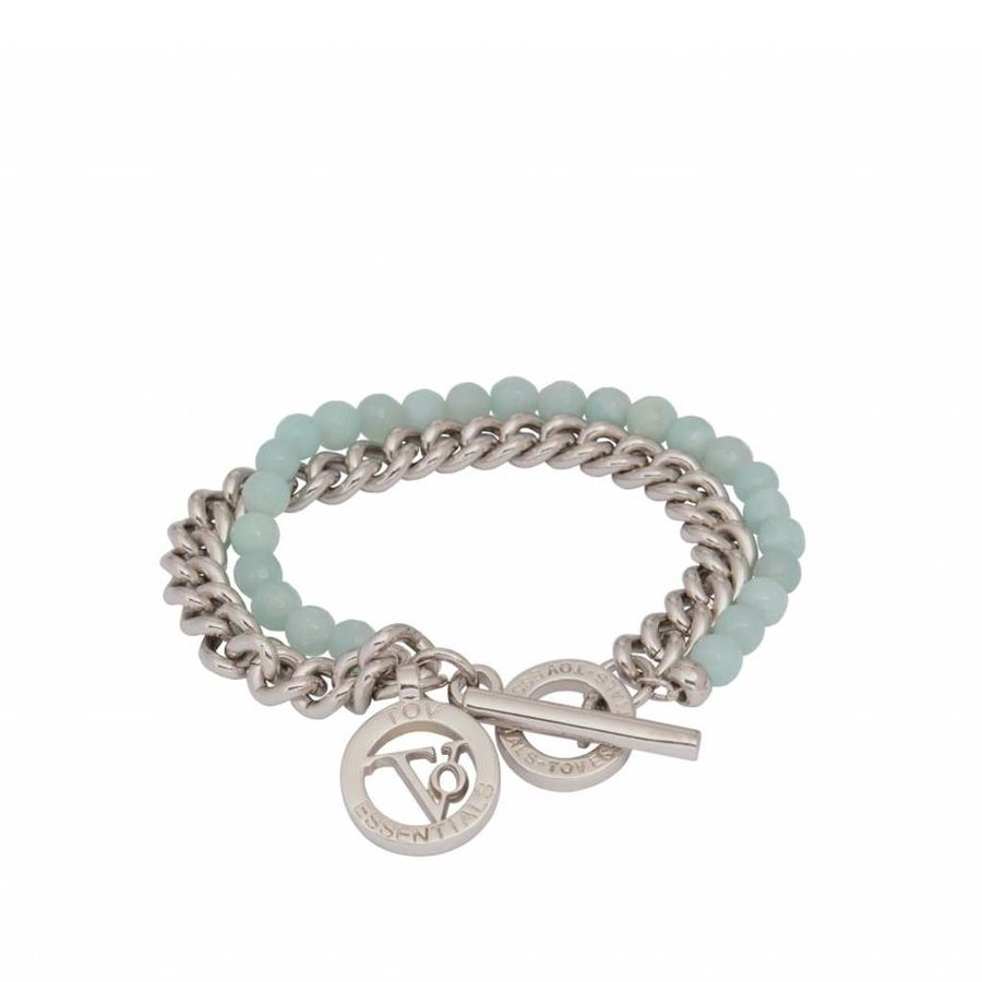 2 in 1 Armband - Witgoud & Aqua agaat stenen
