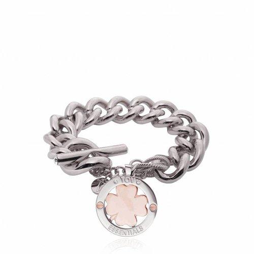 4leaf bi-colour armband - witgoud - rose