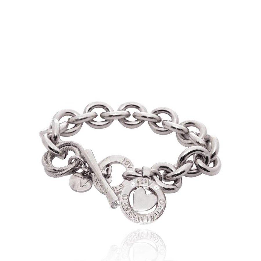 Round gourmet bracelet - Silver/Heart