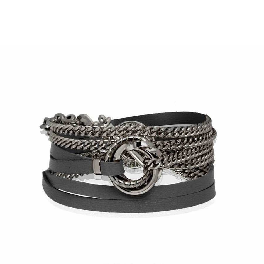 Leather and chain wrap bracelet