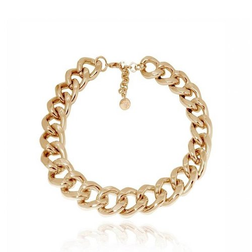 Flat gourmet necklace - Light Gold