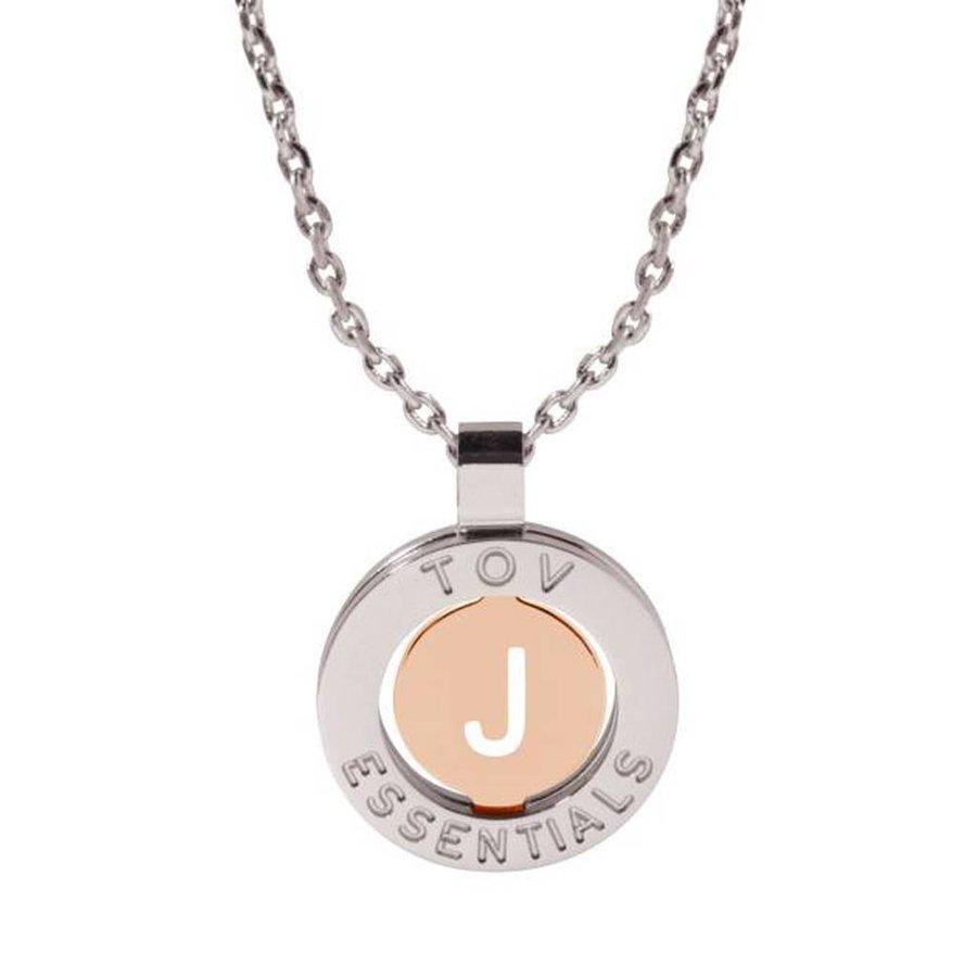 Iniziali necklace 2.0 - White Gold/Rose - Letter J