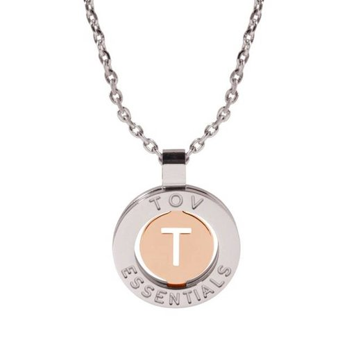 Iniziali necklace 2.0 - White Gold/Rose - Letter T