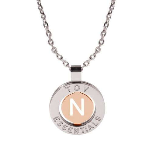 Iniziali ketting 2.0 - Wit Goud/Rose - Letter N