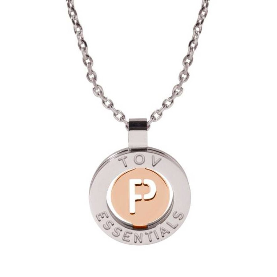 Iniziali necklace 2.0 - White Gold/Rose - Letter P