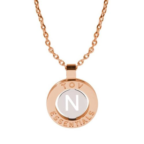 Iniziali ketting 2.0 - Rose/Wit Goud - Letter N