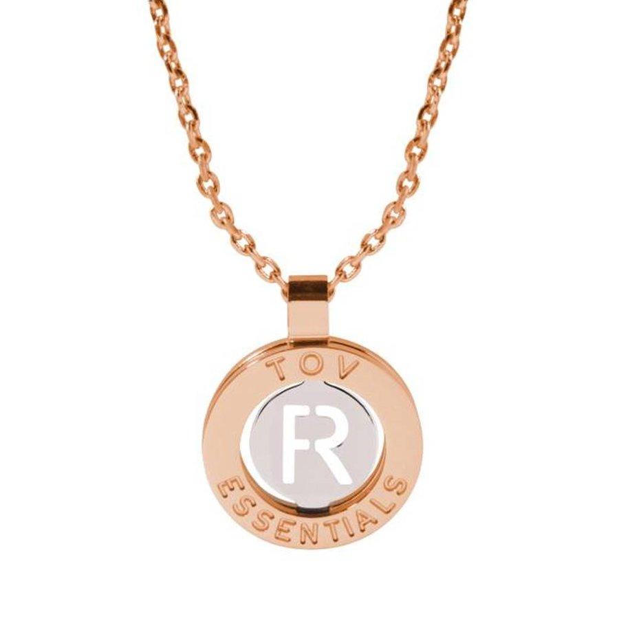 Iniziali ketting 2.0 - Rose/Wit Goud - Letter R