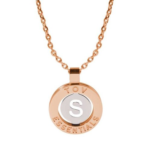 Iniziali ketting 2.0 - Rose/Wit Goud - Letter S
