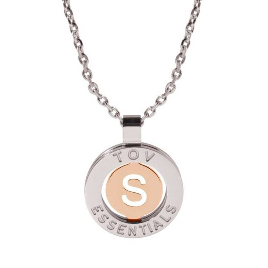 Iniziali necklace 2.0 - White Gold/Rose - Letter S