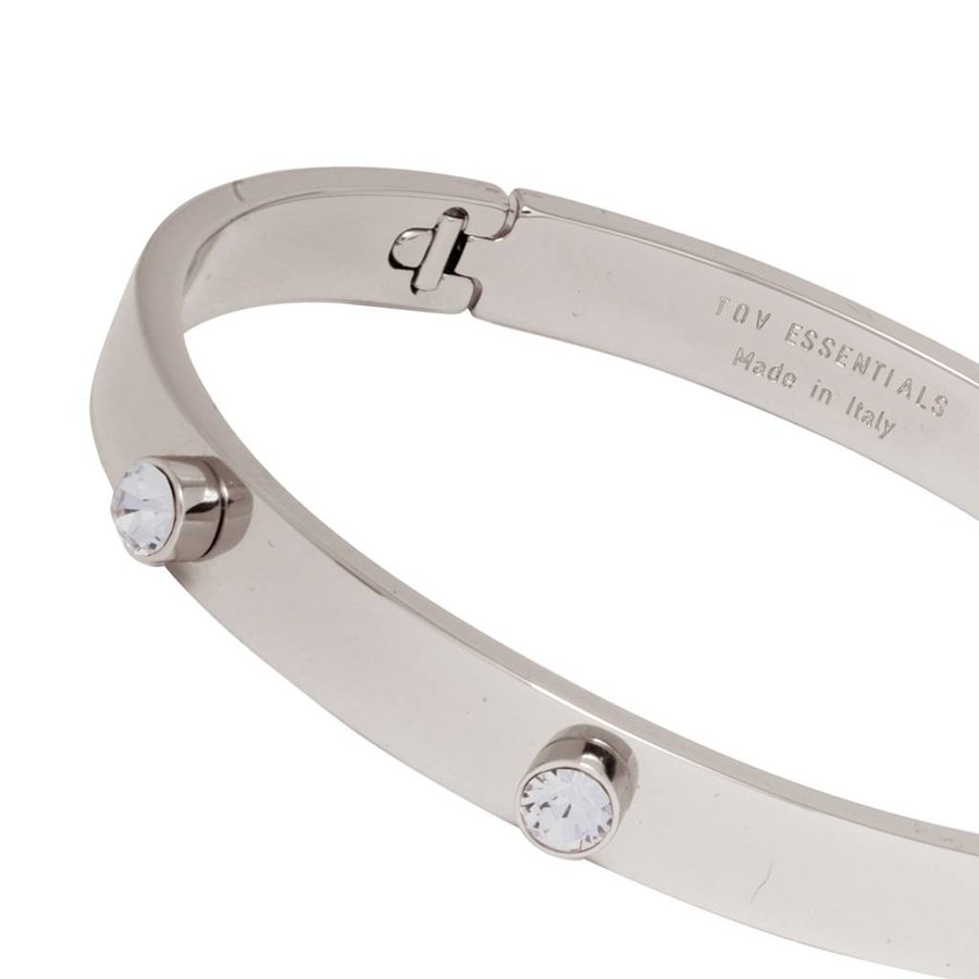 Fine stone bangle - White Gold/Black Diamond