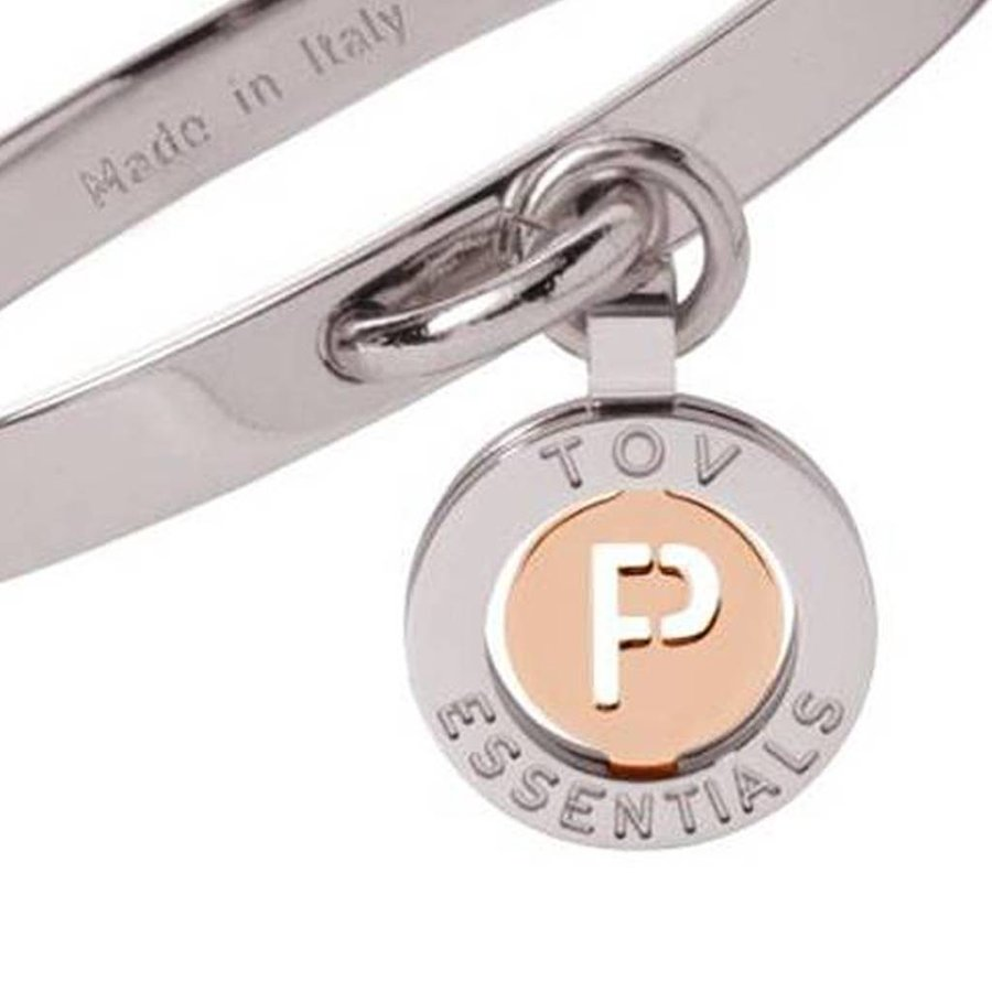 Iniziali bangle (Armband) 2.0 - Wit Goud/Rose - Letter P