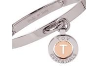 Iniziali bangle 2.0 - White Gold/Rose - Letter T