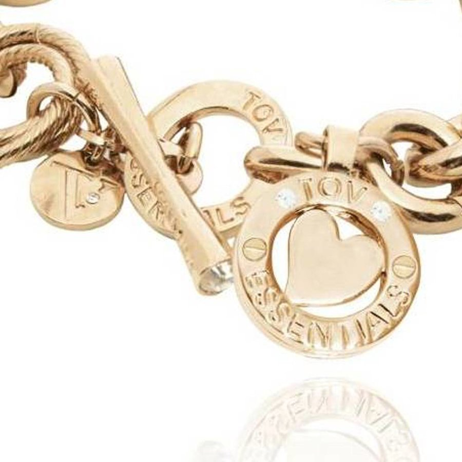 Round gourmet bracelet - Light gold/Heart