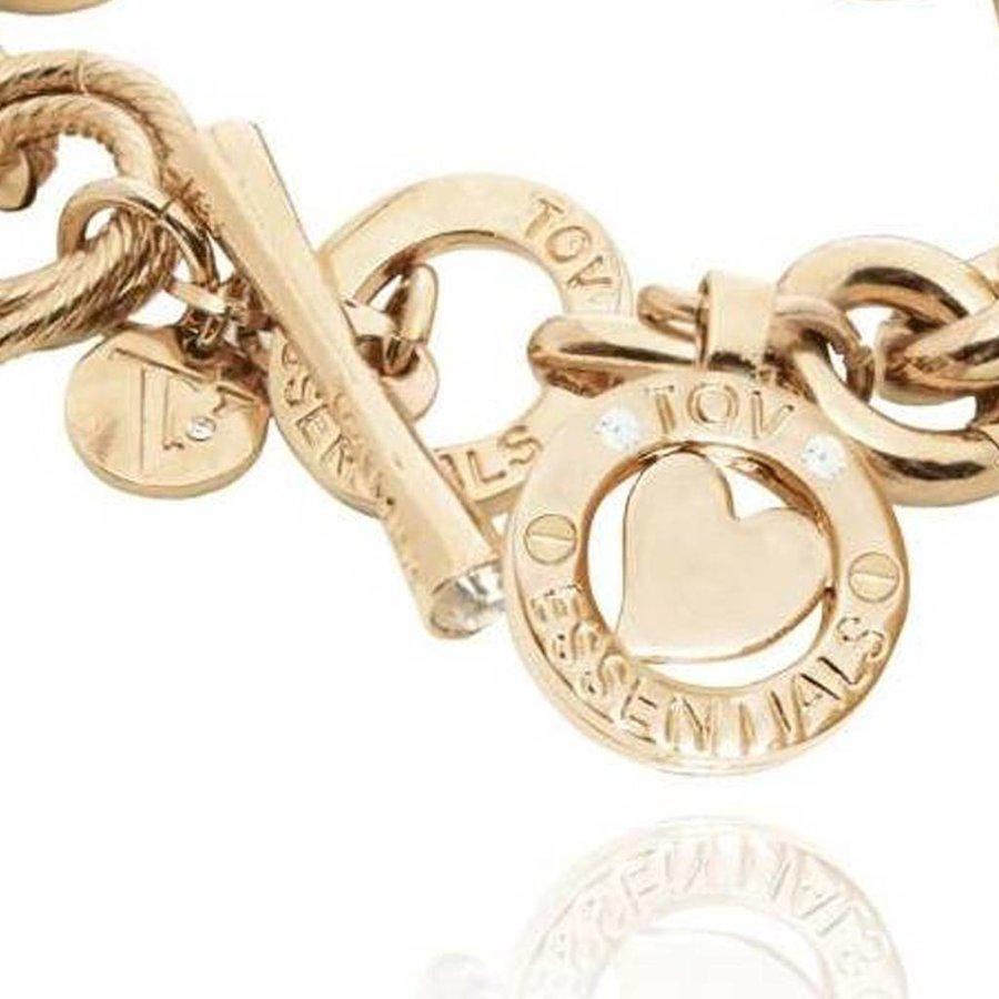 Round gourmet bracelet - Light gold/Heart