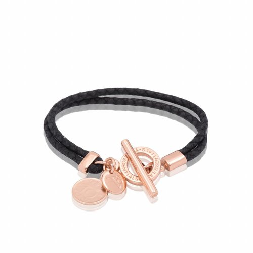 Lucky leather bracelet - Rose/ Black