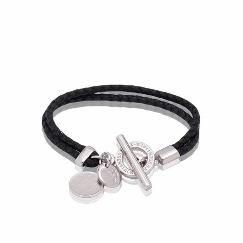 Lucky leather bracelet - White gold/ Black