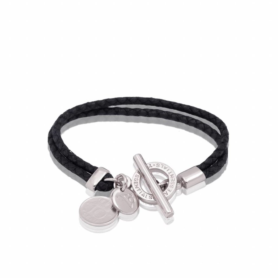 Lucky leather  - White gold/ Black- armband