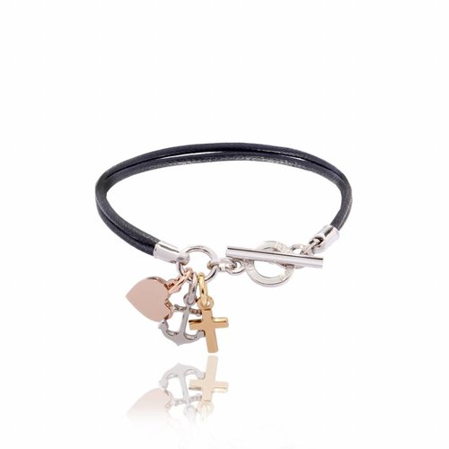 Hope.Love.faith cord bracelet tri colori -