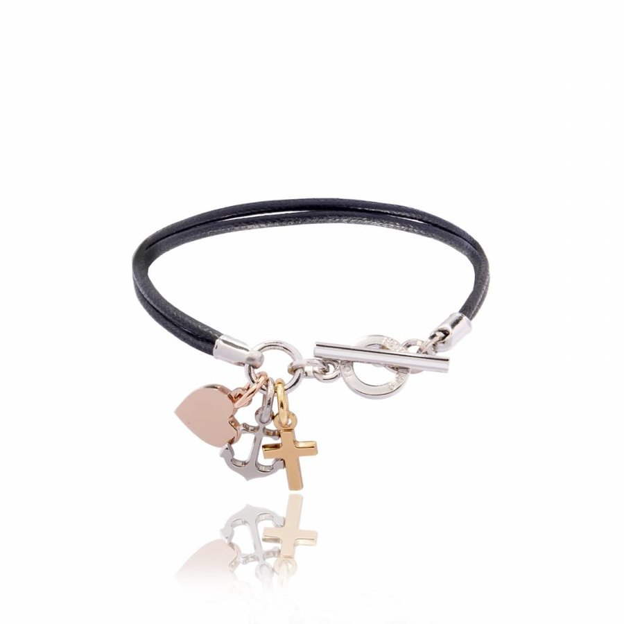 Hope.Love.faith cord bracelet tri colori