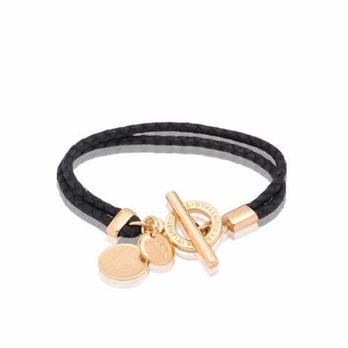 Lucky leather  - Gold/ Black- Armband