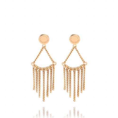 Multi chain oorbellen - goud