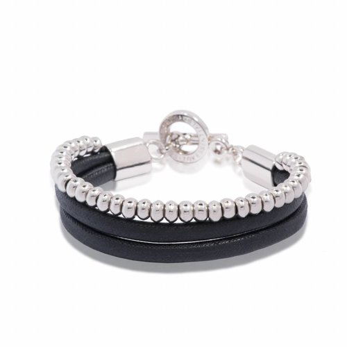 Multi cord bracelet - White gold/ Black