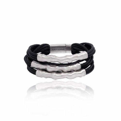 Oak twig bracelet - Silver plated/ Black
