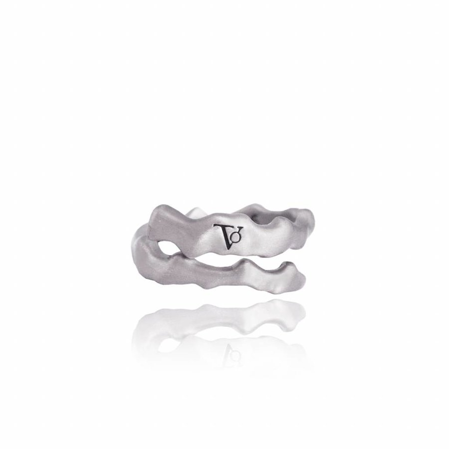 Oak twig ring - silver plated